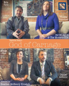 Eric Paine, Phoebe Oosterhuis, Emily Joes and Daniel McKeever star in God of Carnage.  Directed by Heather McHenry-Kroetsch